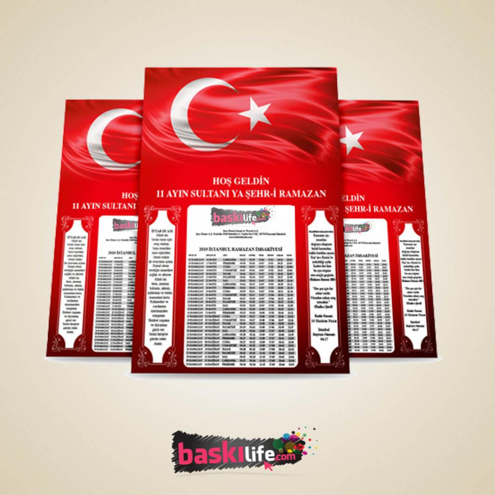 Ramazan İmsakiyesi Türk Bayrağı  (A4 -21x29 cm)