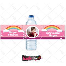 Su Şişesi Sargısı Pembe Kız Çocuk Teması • Sadece Etiket
