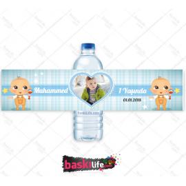 Su Şişesi Sargısı Mavi Erkek Çocuk Teması • Sadece Etiket