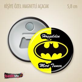 Batman Temalı Kişiye Özel Baskılı Rozet Magnet Açacak